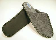 Комнатные тапочки ручной работы из войлока мужские с оливковым шнурком