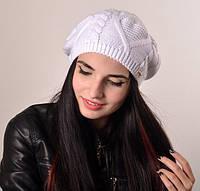 Белый вязаный женский берет