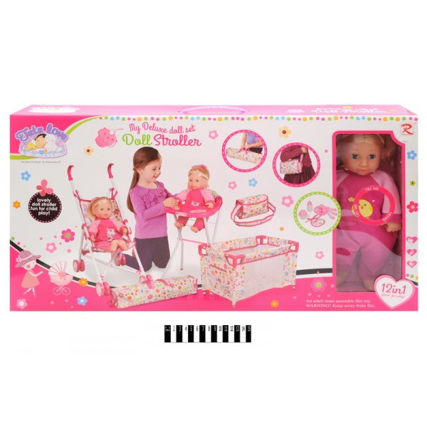 Кукла пупс с аксессуарами сестра Baby Born Беби Берн, 12 в 1, коляска, манеж, стульчик, сумочка, 86816