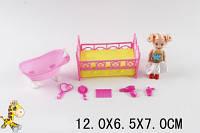 Кукла маленькая с кроватью, ванной и аксессуарами  YMD849