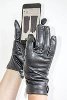 Сенсорные женские кожаные перчатки