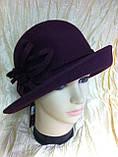 Фетровая шляпа  с полями с цветочной композицией, фото 3