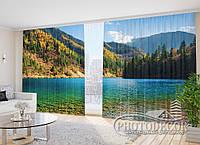 "Фото Шторы в зал ""Озеро в лесу"" 2,7м*2,9м (2 половинки по 1,45м), тесьма"