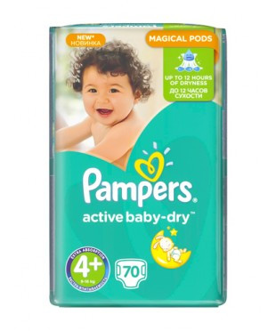 "Pampers Active Baby-Dry Maxi Plus 4+ (9-16 кг), 70 шт. GIANT PACK - Интернет-магазин ""Мойдодыр"" в Хмельницком"