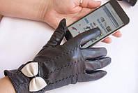 Женские сенсорные кожаные перчатки вязка