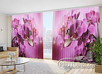 """Фото Шторы в зал Орхидеи малиновые"""" 2,7м*2,9м (2 половинки по 1,45м), тесьма"""