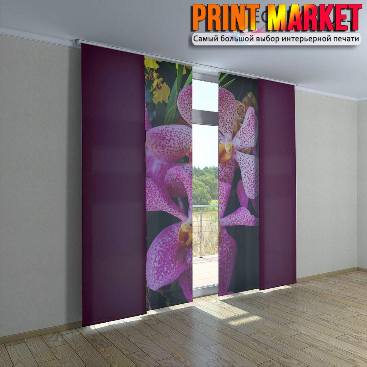 Японские фотошторы фиолетовые цветы