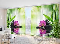 """Фото Шторы в зал """"Орхидеи на солнце"""" 2,7м*2,9м (2 половинки по 1,45м), тесьма"""