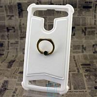 Универсальный чехол-накладка силикон-кожа с кольцом 3.5-4.0″ белый