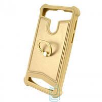 Универсальный чехол-накладка силикон-кожа с кольцом 3.5-4.0″ золотистый