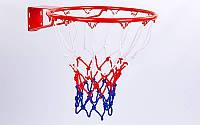 Сетка баскетбольная C-5642 (полипропилен, 12 петель, цвет бело-красно-синий, в компл. 2 шт.)