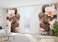 "Фото Шторы в зал ""Камни и орхидеи"" 2,7м*2,9м (2 половинки по 1,45м), тесьма"