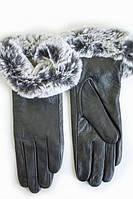 Женские сенсорные кожаные перчатки кролик