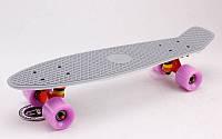 Скейтборд пластиковый Penny RUBBER SOFT TWIN FISH 22in двухцветная дека SK-410-1 (серый-белый)