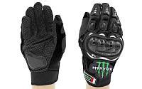 Мотоперчатки текстильные с закрытыми пальцами и протектором MONSTER MS-4376-BK(XL) (р-р XL, черный)