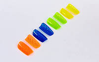 Щитки футбольные FB-671-M (пластик, EVA, l-19,5см, р-р M, синий, салат., оранжевый, желтый)