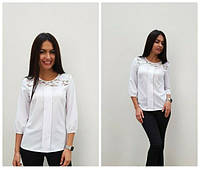 Женская белая блузка с кружевом размеры С М
