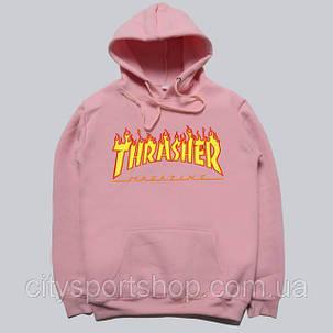 Толстовка розовая Thrasher Flame Logo, фото 2