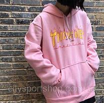 Толстовка розовая Thrasher Flame Logo, фото 3