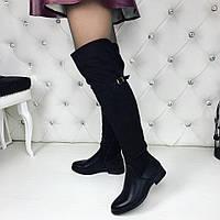 Женские чёрные ботфорты зимние