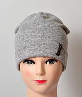 Подростковая шапка меланж двойная св.серый