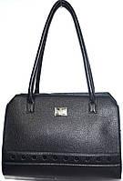 Женская черная сумка с длинными ручками на один отдел с камнями 36*27