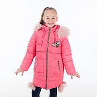Удлиненная зимняя куртка для девочки в нежных расцветках