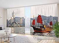 """Фото Шторы в зал """"Алые паруса в городе"""" 2,7м*3,5м (2 полотна по 1,75м), тесьма"""