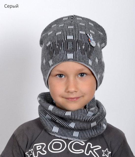 Стильная серая шапка для мальчиков WOW