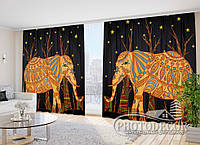 """Фото Шторы в зал """"Африканские слоны"""" 2,7м*4,0м (2 половинки по 2,0м), тесьма"""