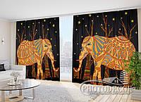 """Фото Шторы в зал """"Африканские слоны"""" 2,7м*5,0м (2 половинки по 2,5м), тесьма"""