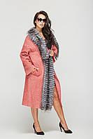 Женское эффектное пальто 2018 (рр 44-52) с натуральным мехом чернобурки, цвета в ассортименте