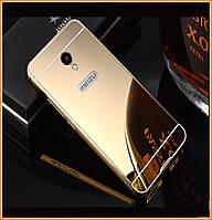 Металлический бампер Epik с акриловой вставкой с зеркальным покрытием для Meizu M5s Gold