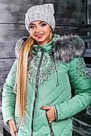 Женская зимняя куртка с красивым декором, р-ры L-3XL (разные цвета)
