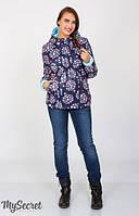 Демисезонная двухсторонняя куртка Floyd для беременных р. 44-52 ТМ Юла Мама Цветы на синем + голубой OW-37.013