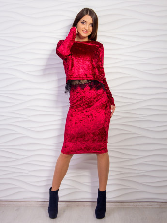 Костюм женские юбка +кофта с гипюровой ставкой м 2070, Л