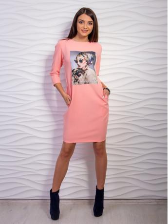Платье женское футляр с карманами и принтом м 2063, разные цвета