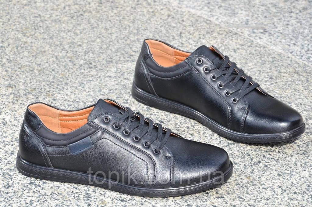 Туфли, мокасины мужские популярные черные искусственная кожа Китай 2017. (Код: 853а)