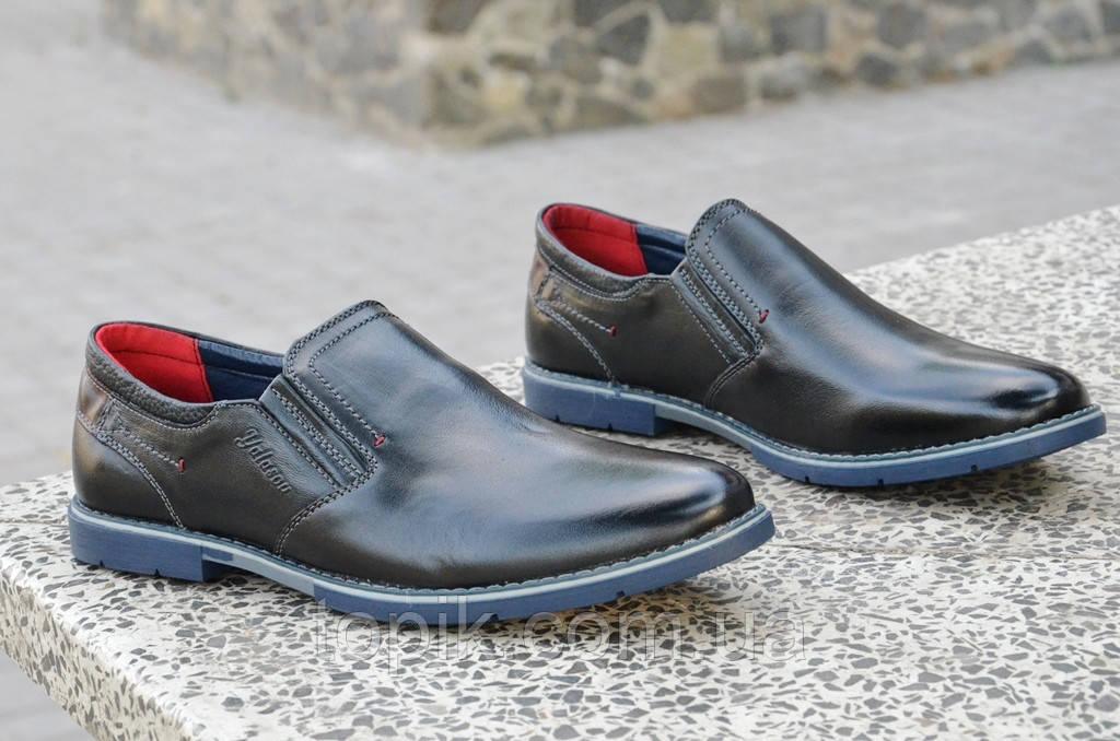 Туфли классические натуральная кожа черные без шнурков, на резинке. (Код: 859а)