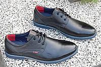 Туфли классические на шнурках натуральная кожа черные Китай