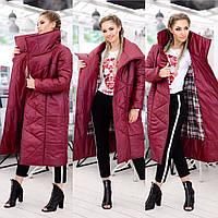 Пальто женское на синтепоне 250. Бордовое, 8 цветов. Р-ры: 42, 44, 46.