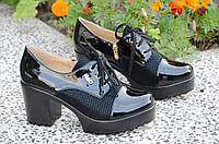Туфли на широком каблуке, на платформе женские черные популярные (Код: 865а) , фото 1