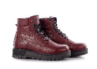 Ботинки женские кожаные на шнурках красные