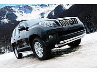 Защита переднего бампера (двойной ус)d 76/60 Toyota Land Cruiser Prado 150 2009-2013