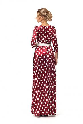 Великолепное платье с запахом из бархата принтованное горохом, фото 2