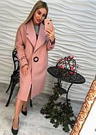 Женское кашемировое стильное пальто на большой кнопке (черное, серое, пудра)