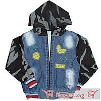 Джинсовая куртка с камуфляжными вставками для мальчика Размеры: 6-7-8-9 лет (5612)