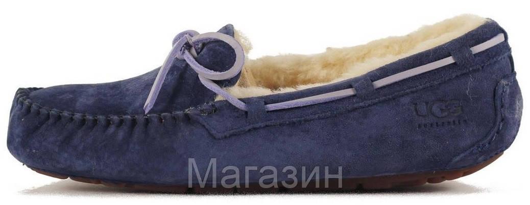 Женские зимние мокасины UGG Australia Dakota оригинальные Угги Австралия с мехом синие