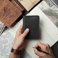 Кожаная обложка для паспорта и документов, черная с тиснением