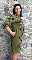 Трикотажное женское платье с карманами П213